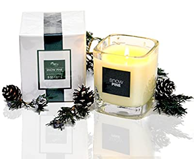 Manu Home Snow Pine Aromatherapy Candle in Gift Box ~ Natural Wax blend ~ Energizing Scent made with Modern Fresh Pine ~ Great Gift! ~Elegant Packaging! ~ 8 oz Made in USA.