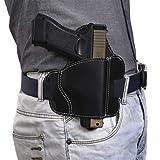 Universal All Cowhide Leather OWB Pistol Holster - Outside The Waistband Belt Gun