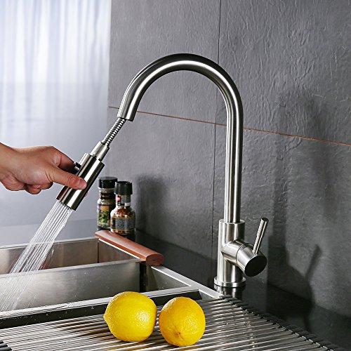 Homelody®verchromt Spültischarmatur mit herausziehbarem /Ausziehbar Brause in matt Wasserhahn Armatur Waschbecken hoher Auslauf Einhebelmischer Wasserkran Küchenarmatur