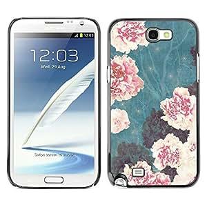 TopCaseStore / la caja del caucho duro de la cubierta de protección de la piel - Vignette Begonia Pink Flowers - Samsung Galaxy Note 2 N7100