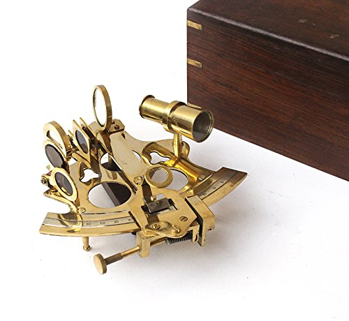 Vintage Ship History Sextant with Hardwood Box Antique Marine Collectible, 6 inch, Brass