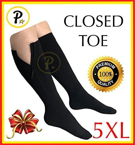Big And Tall Zipper - Presadee Closed Toe SUPER SIZE BIG TALL 20-30 mmHg Premium Zipper Compression EZ Zip Up Big Wide Calf Leg Length Shin Support Sock (Black, 5XL)