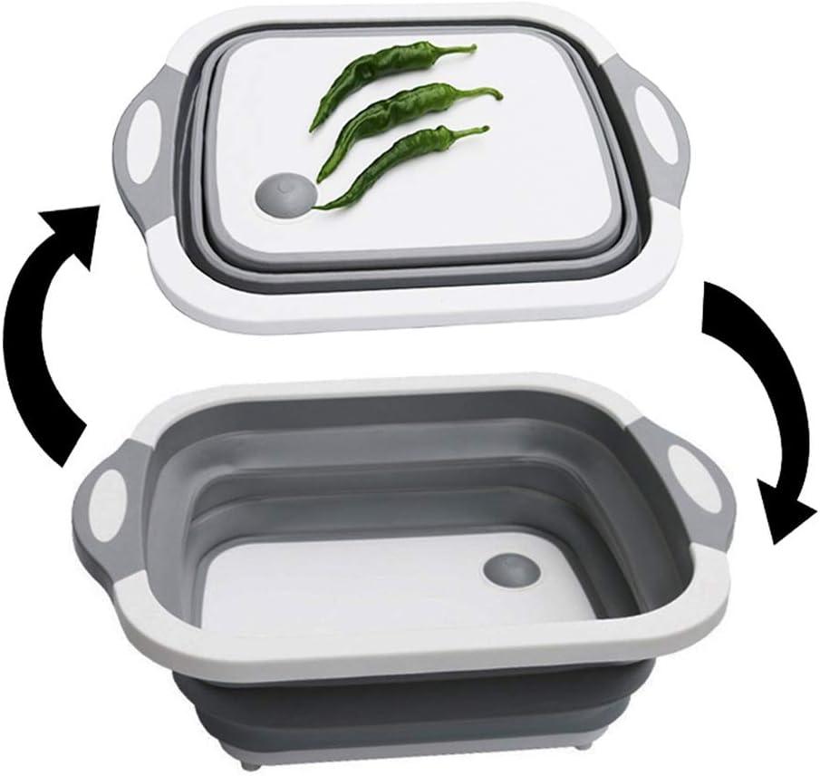 Faltbare Multifunktionale Schneidebrett, Waschen Obst ablassen Korb, Schneidebretter, Küchenwaschkorb, großes Produkt for Ihre Küche LJJOO (Color : Green) Green