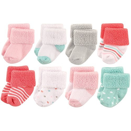 Luvable Friends Unisex 8 Pack Newborn Socks, Coral Dots, 0-6 Months