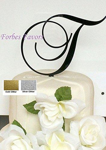 Monogram Inital Letter Acrylic Cake Topper Wedding A B C D E F G H I J K L M N O P Q R S T U V W X Y Z & (T, Glittery Gold)