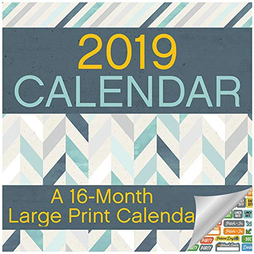 Large Print Calendar 2019 Set -- Deluxe 2019 Large Print Wall Calendar for Vision Impaired, Seniors and Elderly (Bundle with Over 100 Calendar Stickers)