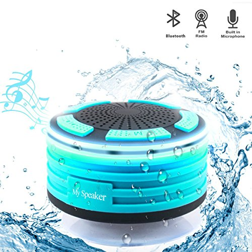 Bluetooth Speaker Waterproof Shower Radios with FM Radio and LED Mood Lights, Portable Wireless Bluetooth Speaker for Car Driving Shower Beach Kitchen Outdoors (Blue)