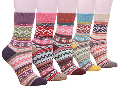 Buttons & Pleats Womens Knit Warm Wool Socks 5 Pairs, Wave Pattern Size:9-11 -