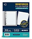 iScholar Reinforced Filler Paper, College Ruled, White, 100 Sheets, 9 x 11 Inches (83101)