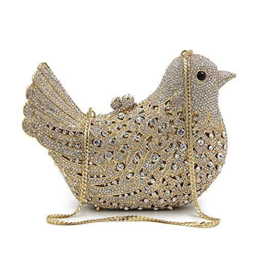 Milisente Mujer Noche Bolso Pájaro Cristal Fiesta Noche Clutch Bolsos (AB Gold) Gold