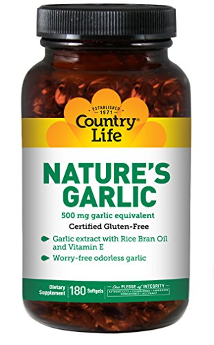 Country Life - Nature's Garlic, with Rice Bran Oil and Vitamin E, 500 mg - 180 Softgels