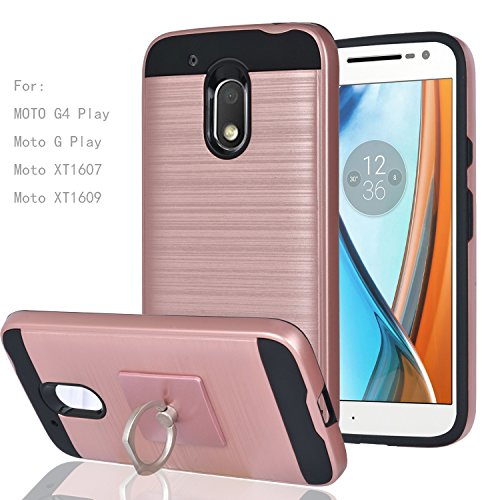MOTO G4 Play / Moto G Play Case With Phone Stand,Ymhxcy [Metal Brushed Texture] Hybrid Dual Layer Full-Body Shockproof Protective Cover Shell For Motorola Moto XT1607 / XT1609-LS Rose Gold