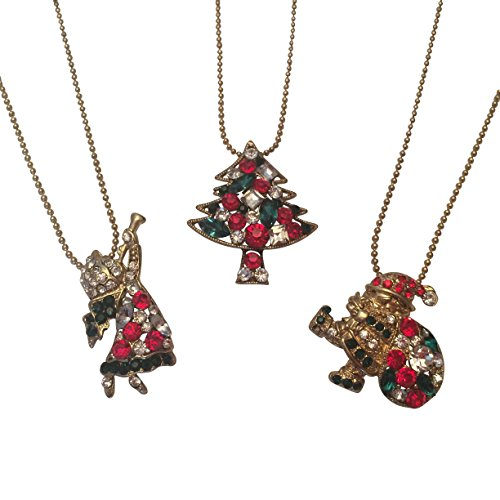 EverKid Christmas Charm Set of 3 - Santa Claus with Gift Bag, Xmas Tree, Christmas Angel with Trumpet