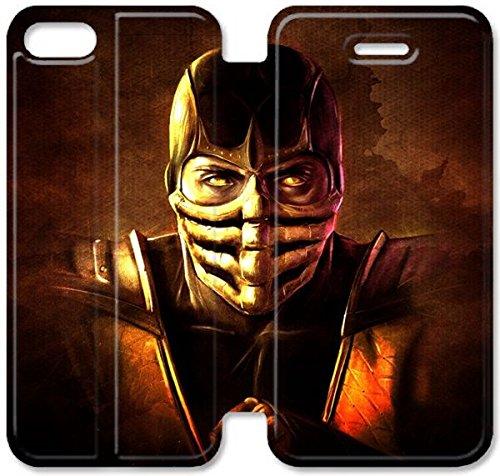 Coque iPhone 5C Coque Cuir, Klreng Walatina® 5C PU Cuir de portefeuille Coque Design By Mortal Kombat Mortal Kombat Ninja Scorpion Art E0M3Vh