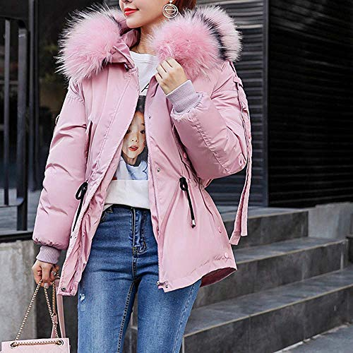 Jacket Pink Outerwear Cotton Slim HUHU833 Warm Hooded Padded Women Thick Coat Winter PPHwvqT