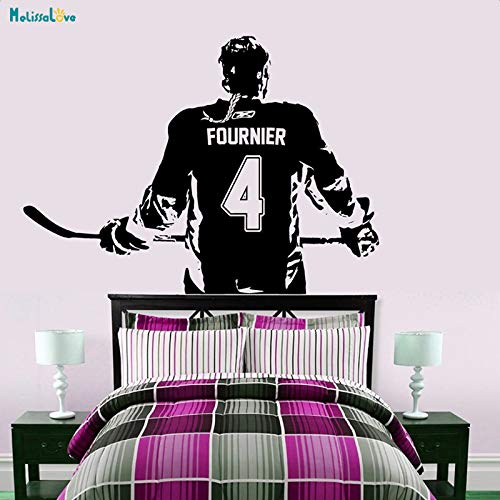 PPL88 (Leave a Message of Custom Information) Hockey Girl Player Wall Art Decal Sticker Personalized Name Number Home Decor Wall Stickers for Kids Room Vinilos Paredes A184 1 PCs