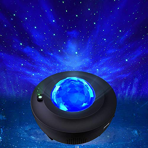 Star Projector, Star Sky Night Light for Kids, Room Decor Baby Lamp with 10 Changeable Dynamic Color Lights & Timer Function, Bluetooth/USB Port Playing Music Kids Light Ideal Gift for Living Room and Bedroom (Black)