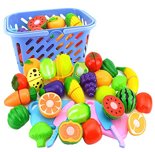 Play Food with Basket, WOLFBUSH 23Pcs/Set Plastic Fruit and Vegetables Cutting Fun Kitchen Educational Toy for Kids Baby - Color Random