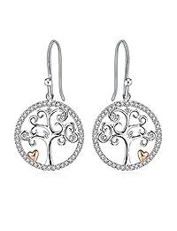 "Silver Necklace Dangle Earrings Women 3A Cubic Zirconia Tree Necklace Set J.Rosée Fine Jewelry ""Tree of Life"