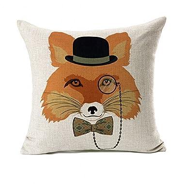 Orange Fox With Glasses Design Home Decor Throw Pillow Cover Pillow Case 18 x 18 Inch Cotton Linen for Sofa (Fashion Animal)