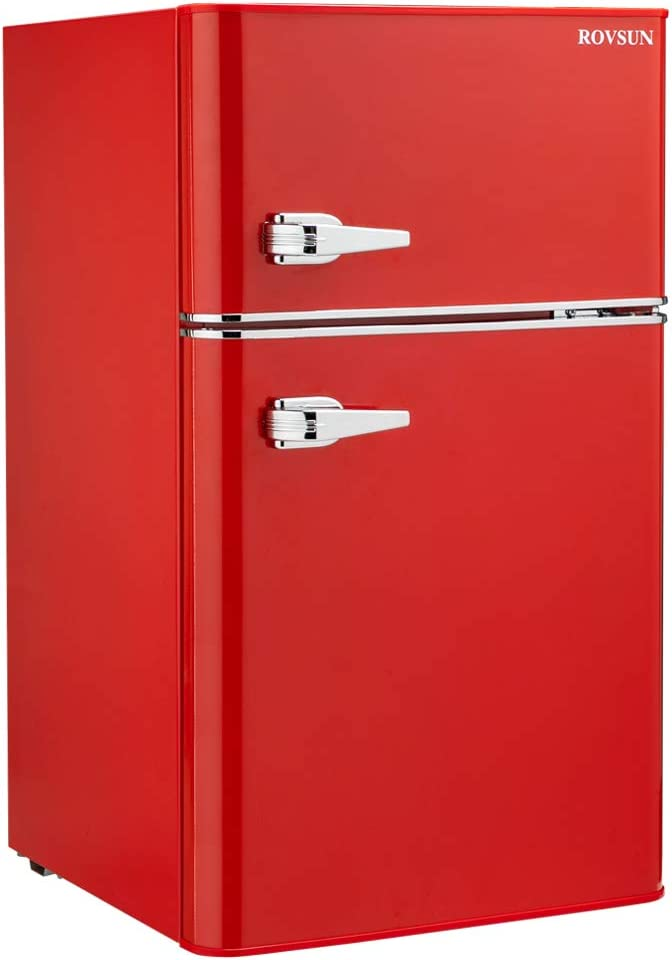 ROVSUN Compact Refrigerator, 3.2 Cu Ft 2 Door Mini Fridge with Freezer, Removable Shelves, Mechanical Temp Control, Ideal Food and Drink Beer Storage for Room, Kitchen, Dorm, Office, Apartment (Red)