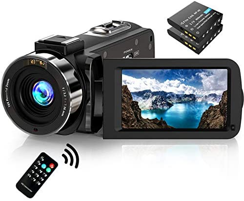 Video Camera Camcorder FHD 1080P 30FPS 36MP IR Night Vision YouTube Vlogging Camera Recorder 3.0'' 270 Degree Rotation IPS Screen 16X Digital Zoom Camcorder with Remote and a pair of Batteries