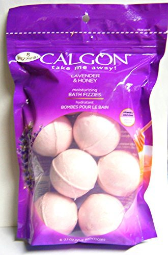 Calgon Take Me Away! Lavender & Honey Moisturizing Bath Soak Fizzies Bombs 8 - 2.1 Oz Balls