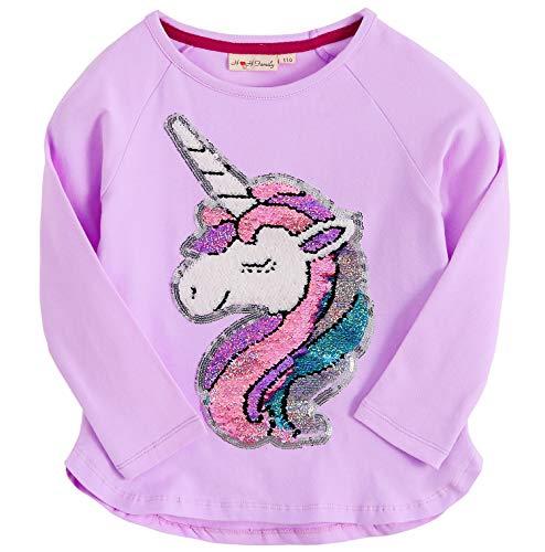 Unicorn Flip Heart Sequin Girl's T-Shirt Short/Long Sleeve 3-12 Years (8, Aurora Long Purple)