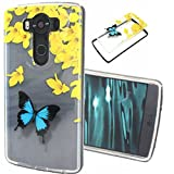 LG V10 Case,LG G4 Pro Case,Gift_Source [Drop Protection] [Butterfly Pattern] TPU Soft Back Case Slim fit Transparent Clear Back Panel Silicone Hybrid Thin Soft Bumper For LG G4 Pro / G4 Note / LG V10