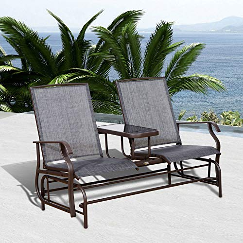 (Entertaining Natural Relaxing Roll Recliner Brown Steel Frame Gray Sling 728 lbs Patio Glider Rocking Chair Bench Daybed Loveseat 2 Person Rocker Deck with Elevated Table Outdoor Furniture )