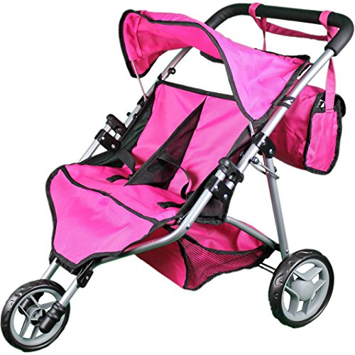 - Mommy & Me Twin Doll Stroller with Free Carriage Bag - (Hot Pink)