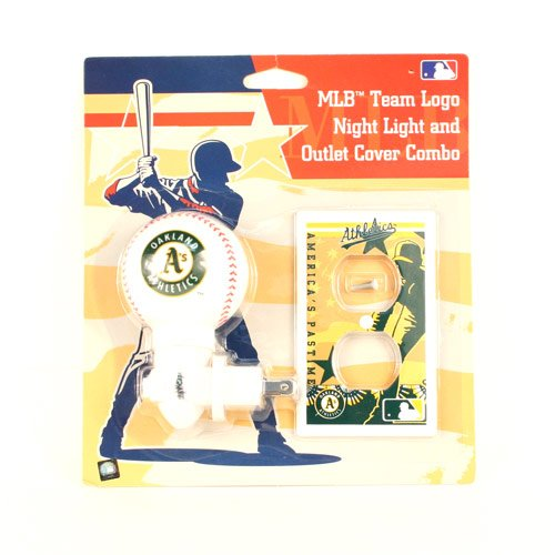 (Oakland Athletics MLB Team Logo Night Light and outlet Cover Combo )