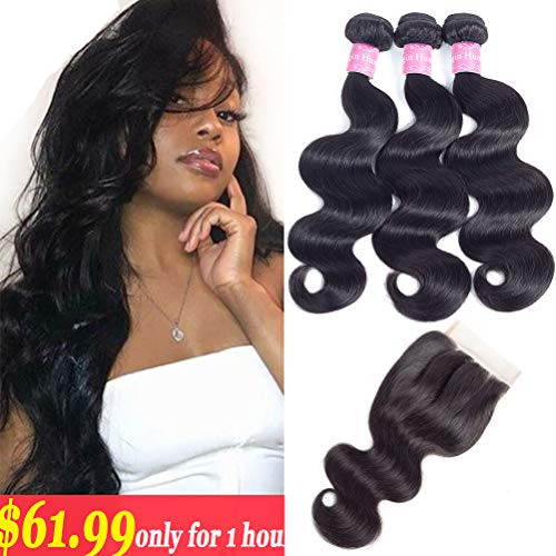 10A Brazilian Body Wave 100% Unprocessed Human Hair 3 Bundles With Closure(14 16 18+12,Three part Natural Color) Body Wave Brazilian Human Hair Bundles With Closure