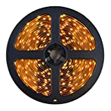 HitLights Weatherproof LED Light Strip - Warm White 3000K SMD 3528 - 300 LEDs, 16.4 Ft Roll - 12V DC - 72 Lumens / 1.3 Watts per Foot - IP-65 - Adhesive Backed for Easy Installation - LED Tape Light