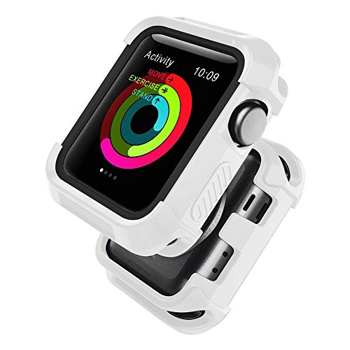 UMTELE Compatible with Apple Watch Case 38mm,Shock Proof Bumper Cover Scratch Resistant Protective Rugged Case Replacement for Apple Watch Series 3, Series 2, Series 1 38mm, White/Black