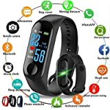 Junaldo Latest M3 Smart Band with OLED Sweatproof Waterproof Touchscreen Fitness Band Activity Tracker Steps Calories Burnt Counter with Live Heart Rate/BP
