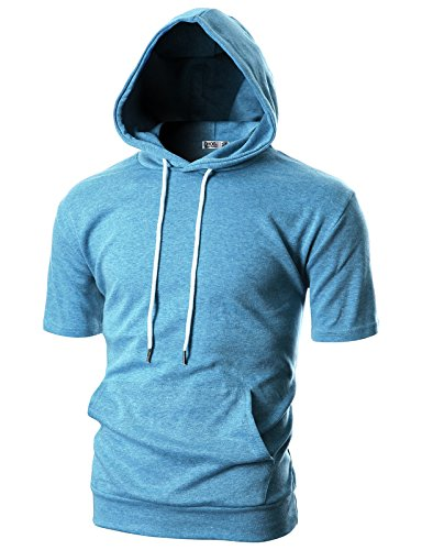 Ohoo Mens Slim Fit Short Sleeve Lightweight Hoodie with Kanga Pocket/DCF013-SKYBLUE-3XL