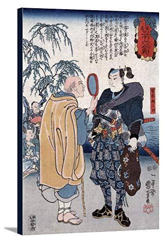Samurai Miyamoto Musashi Japanese Wood-Cut Print (11 3/4x18 Gallery Wrapped Stretched Canvas)