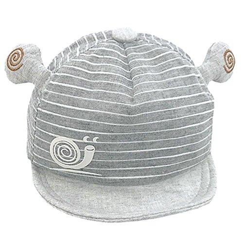 (LOKIDVE 0-6 Months Baby Sun Hat Boy Adjustable Infant Cap 100% Cotton-Gray)