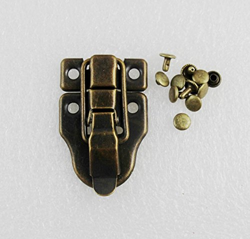 WellieSTR 5 Units Toggle case catch Boxes Chest Trunk Tool Box Suitcase Closure Clasp Latch With Rivets (Antique Brass) 5 Antique Brass Latch
