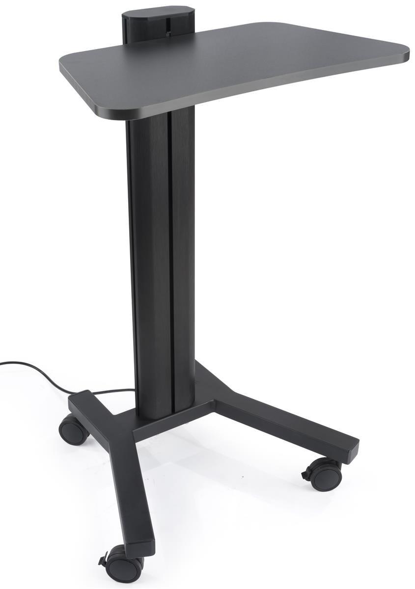 Displays2go, Mobile Standing Laptop Cart, Steel, Aluminum Construction – Black Finish (LPGPNBCT1)