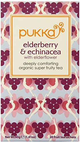 Pukka Herbs Organic Elderberry and Echinacea Herbal Tea, 20 individually wrapped tea bags, 6 ()