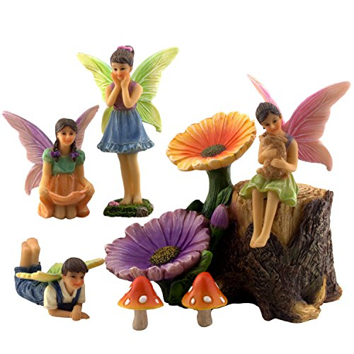 PRETMANNS Fairy Garden Accessories Kit - Miniature Fairy Figurines & Flower Stump Supplies - 7 Pieces - Miniature Fairy Gardens