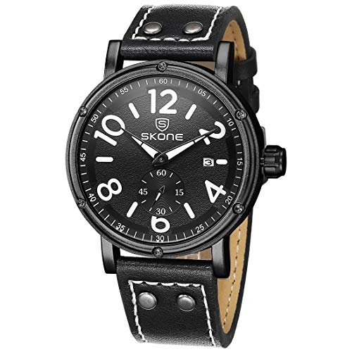 VAXT Direct 1008 Sovereign Small Indorsement Dial Calendar Display Men Quartz Movement Watch with PU Leather Band (Color : Black)