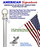 American flag and pole kit set: Includes a 3x5 ft US flag made in USA, 6 ft aluminum tangle free spinning flag pole with carabiners, and flagpole holder wall mount bracket (Silver)