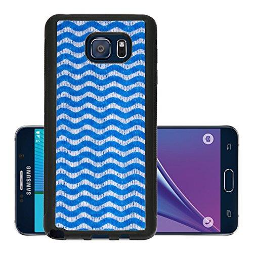 Blue Stripe Folded Note (Luxlady Premium Samsung Galaxy Note 5 Aluminum Backplate Bumper Snap Case IMAGE ID: 34256250 blue napkin in white wavy)
