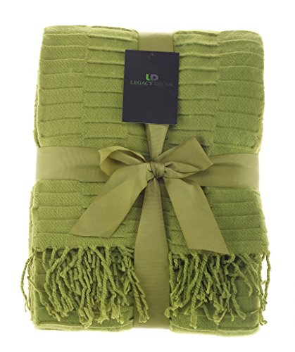 Legacy Decor Green Color Flannel Throw Blanket with Fringe