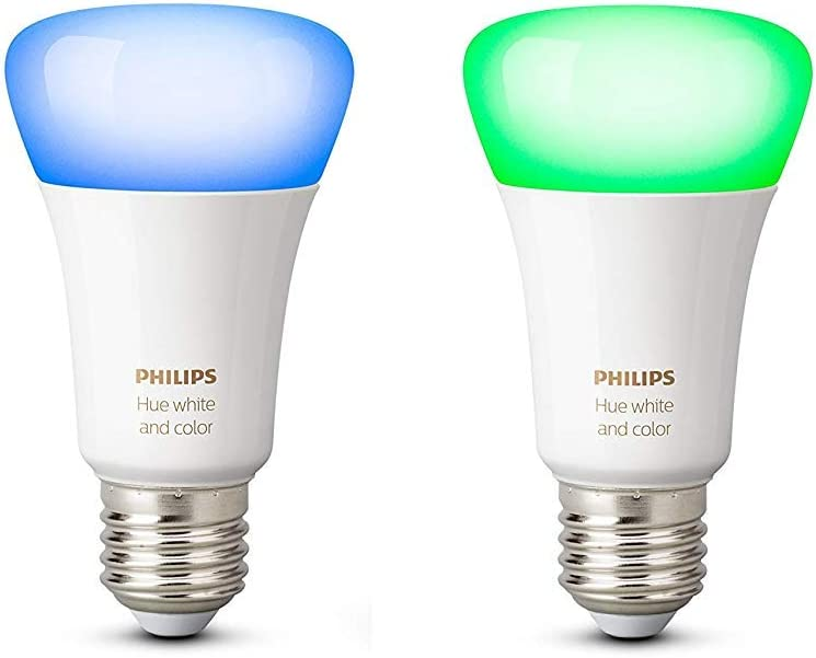 Philips Hue Pack 2 Bombillas Inteligentes LED E27, 9.5 W, Luz Blanca y de Colores, Compatible con Alexa y Google Home