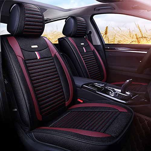 INCH EMPIRE Car Seat Cushion Full Set Cloth Universal Fit Front and Back Leather Edges Breathable Anti-fouling Fabric Covers-Adjustable Bench for 95% Types of 5 seats Cars(Black and Wine-red)