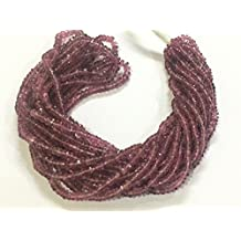 Genuine Gemstone Natural Pink Tourmaline, Rondelle Faceted 3.0 - 3.5 mm very small | 1 strand 14 inches | Real Gem | Sparkly Shimmer Purple Pink | Birthstone | Jewelry Making Beading Jewellery